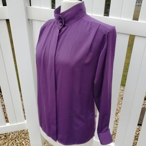 Tess Solid Purple Long Sleeve Button Down Blouse